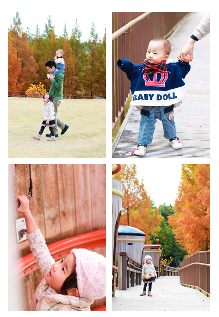 ロケーション撮影 屋外 公園 写真 モリコロパーク 愛知県長久手市 紅葉シーズン 家族写真 子供写真