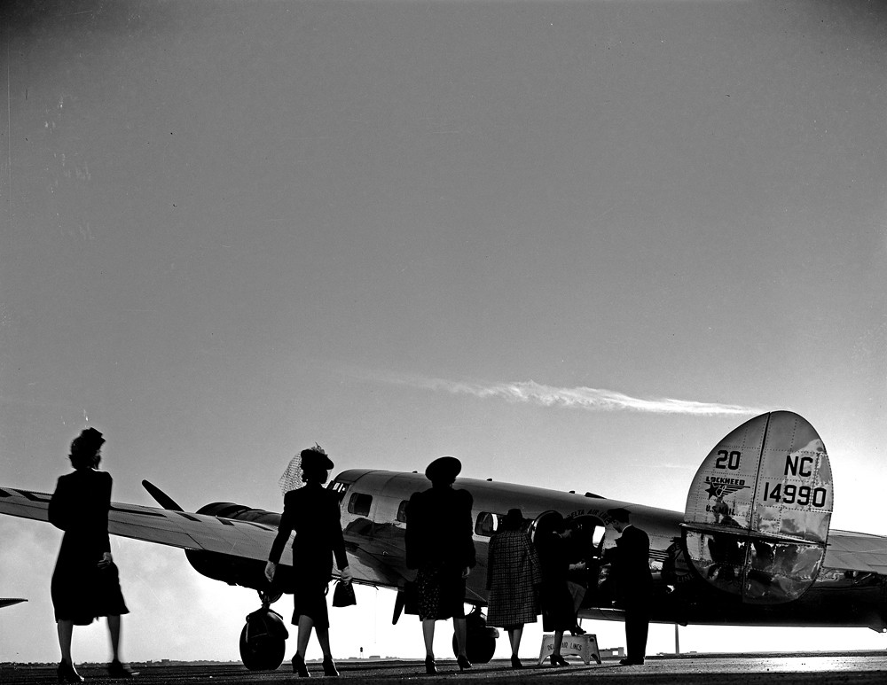 [Models Boarding Lockheed 10B Electra, Delta Air Lines]