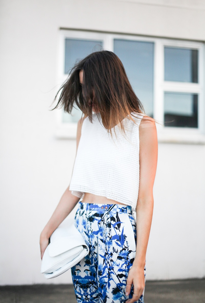 modern legacy fashion style blogger australia Christmas outfit party Three of Something printed pants crop top summer street style (8 of 9)
