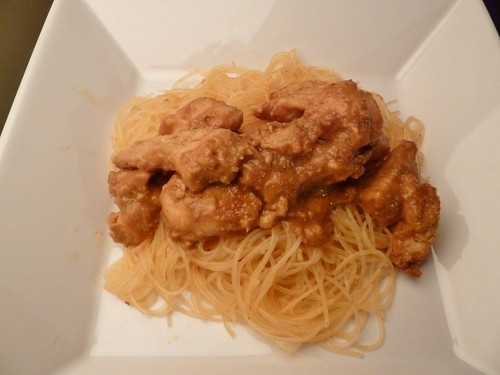 Thai Honey Peanut Chicken with Chinese-Style Rice Noodles
