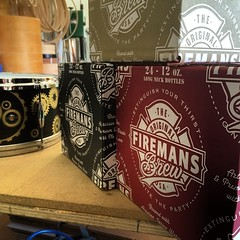 Look what just showed up... Stocked and ready for NAMM!!! Thank you @firemansbrew!!!!  #qdrumco #namm2014 #firemansbrew