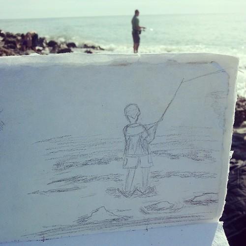 My fisherman. #sketching #pencil #beach #fishing