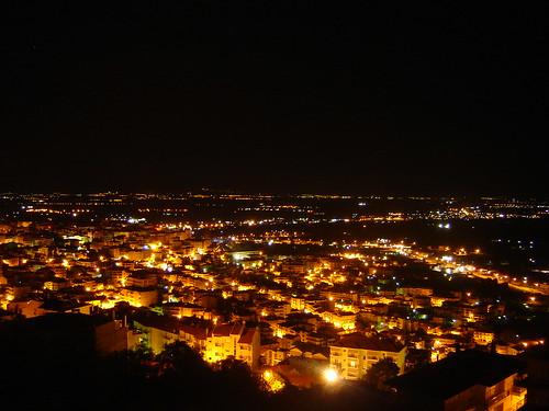 hill greece nightview veria vikela