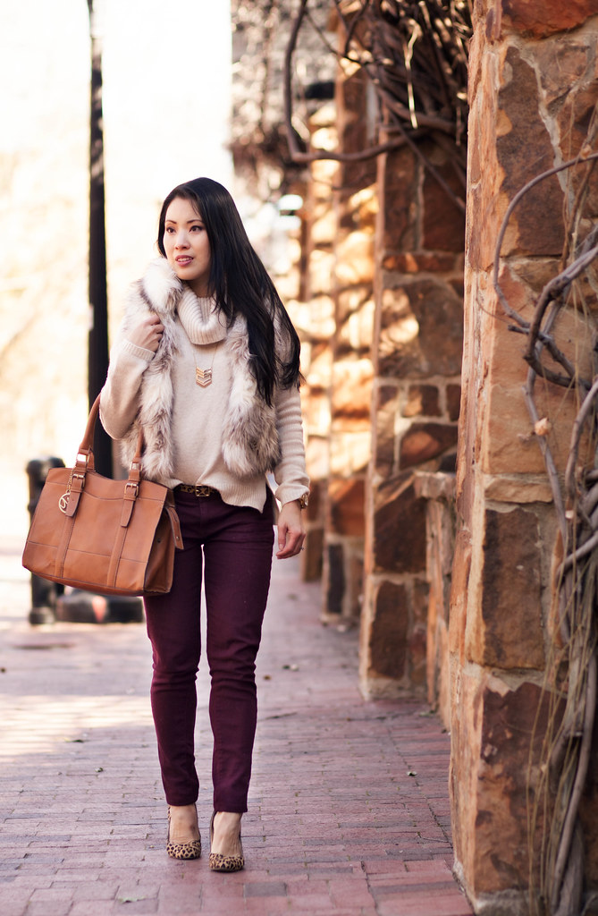 cute & little blog | fur vest, cowl sweater, burgundy pants, leopard pumps | winter style outfit