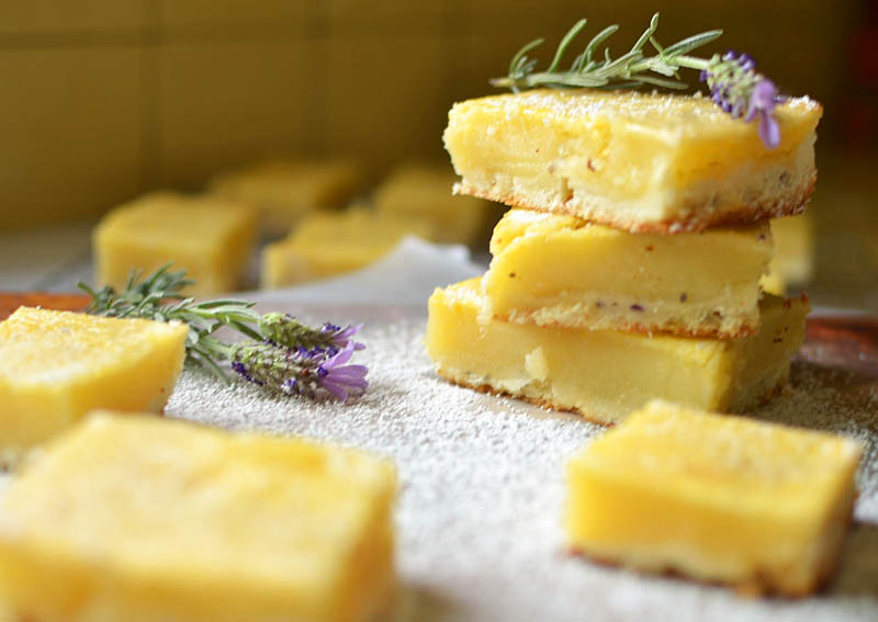 Lavender Lemon Bars via LittleFerraroKitchen.com