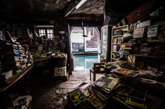 The famous fire exit at Libreria Acqua Alta in Venice, Italy.
