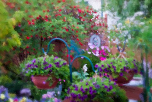 Beautiful Blur Garden Scene Digital Oil by Rustic Pixel