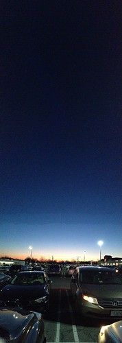 sunset sky cars night lights parkinglot panoramic