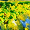 Impasto. Thickly applied oil paint to show grape vines in the sun:)  #wineart #newzealand  #instaartist #vineyardpainting #brightcolor #green #yelow #lemon by nomadicartist