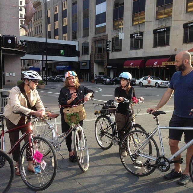 @margyartgrrl and Mel talking about protected bike lanes on Central Parkway