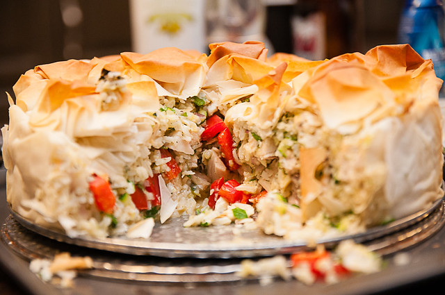 chicken and rice pie with phyllo