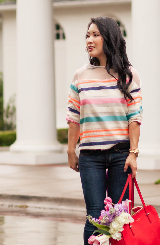 cute & little blog | petite fashion | oasap striped sheer mesh yoke blouse, rag bone skinny jeans, neon yellow heels, kate spade red bag | spring outfit