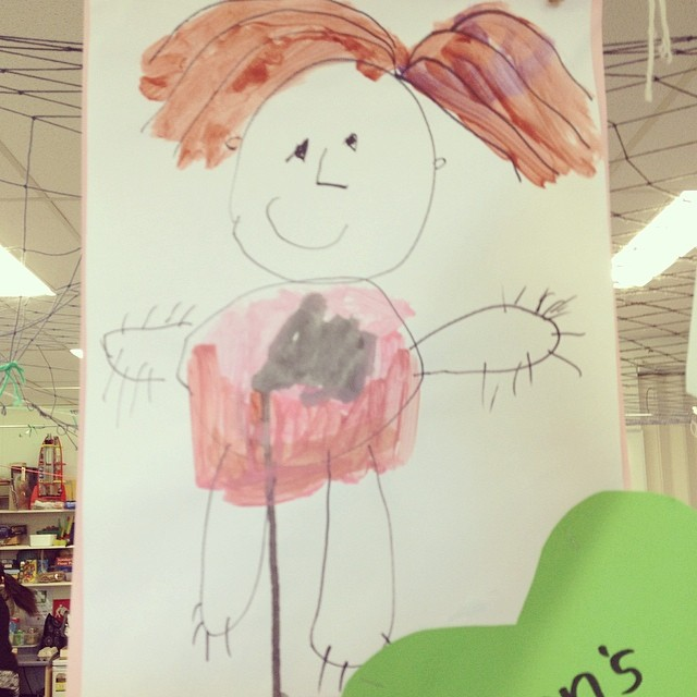 Loving the portrait my five year old made of me at school. Melt. :)  #portrait #mamalove