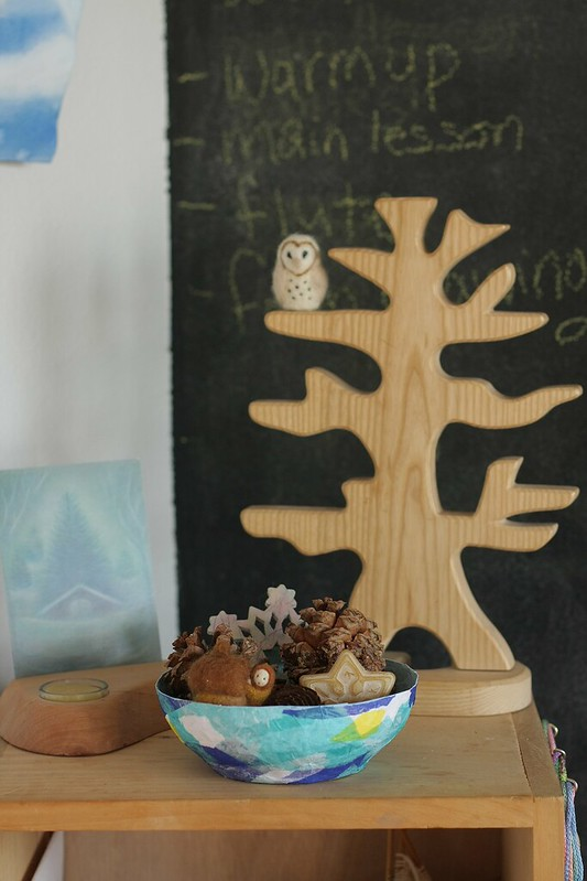 seasonal display on our homeschooling shelf in the kitchen
