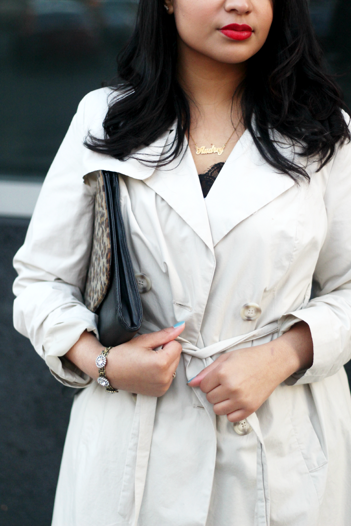 Trench Coat & Black Lace