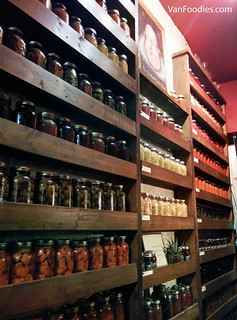 Jars of jams, preserves and pickled vegetables for service and for sale
