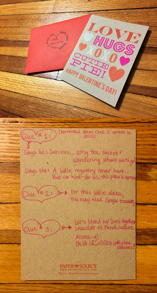 Valentine's day card with clues
