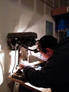 John at the drill press