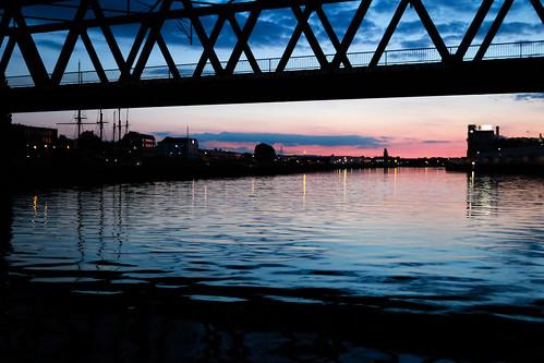 sunset water river germany landscape deutschland cityscape purple dusk bremen weser