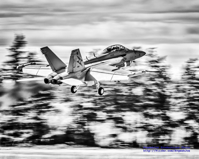 RAAF EA-18G Growler in VAQ-129 Care Rising From OLF in Greyscale