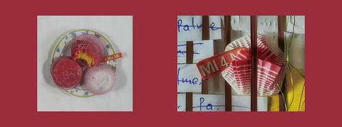 Tapestry Diary 4 May 16: Eating the second Pastry Present from my Parents, Souvenir from Italy Tagebuch Teppich Tapisserie Tagebuch Upcycling Papier Manschette Geschenk von Eltern, Souvenir aus Italien für Blumen giessen
