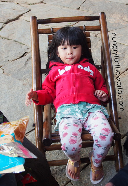 little one on foldable bamoo chair
