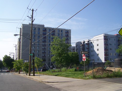 An apartment building on the Silver Spring side of Eastern Avenue NW