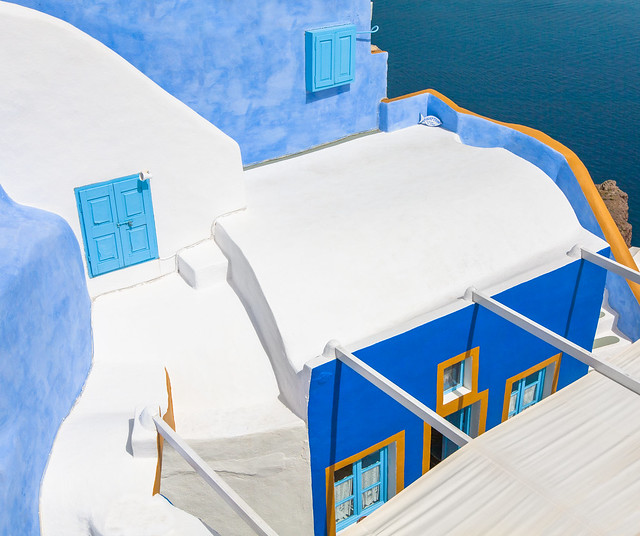 Santorini, Oia - Blue and Gold on White