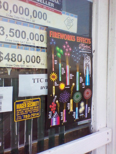 An advertisement for Victoria Day fireworks at the convenience store