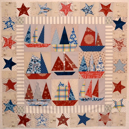 Sailboats quilt in progress