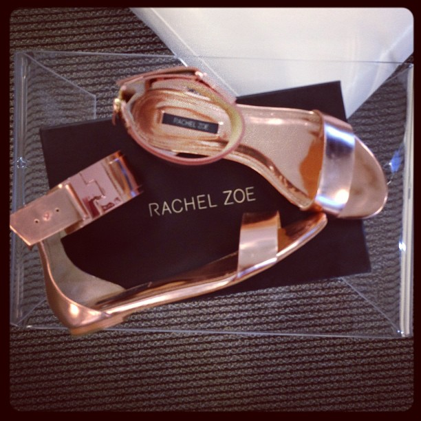 Obsessed with my new #rosegold @rachelzoe sandals I scored in the @shopbop sale! #instagood #inthemail #sandals #summer #rachelzoe #shopping  #shiny