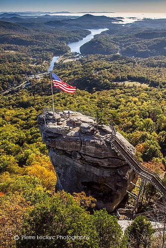 statepark autumn usa mountains fall monument nature rock season landscape scenic northcarolina americanflag eastcoast mountainrange appalachians chimneyrock pierreleclercphotography