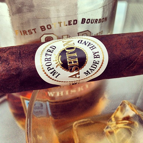 An Ashton Maduro and some Old Forester whisky.