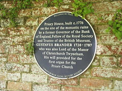 Photo of Priory House, Christchurch and Gustavus Brander blue plaque
