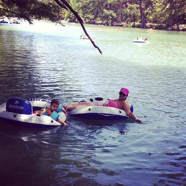 Floatin with my little man! #familycampingtrip #garnerpark