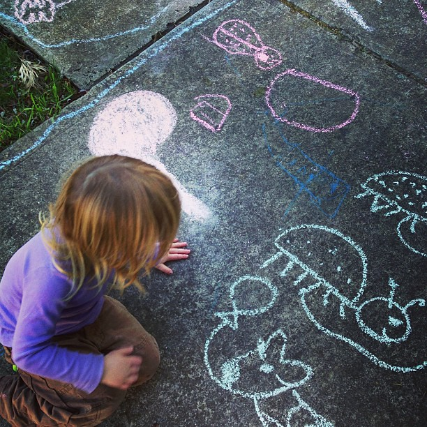 Chalk animals and balloons at #coop #hobartnaturallearners #unschooling