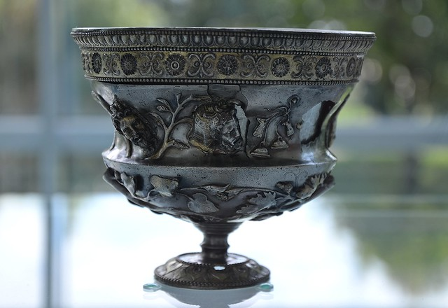 Roman silver cup decorated with stylized flower, leaf motifs and mythological figures depicting the world of the god of wine Bacchus, Museum het Valkhof, Nijmegen (Netherlands)