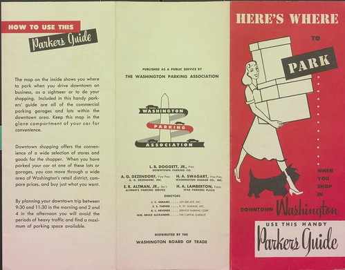 1953 brochure, Parker's Guide to Washington, finding parking lots and structures