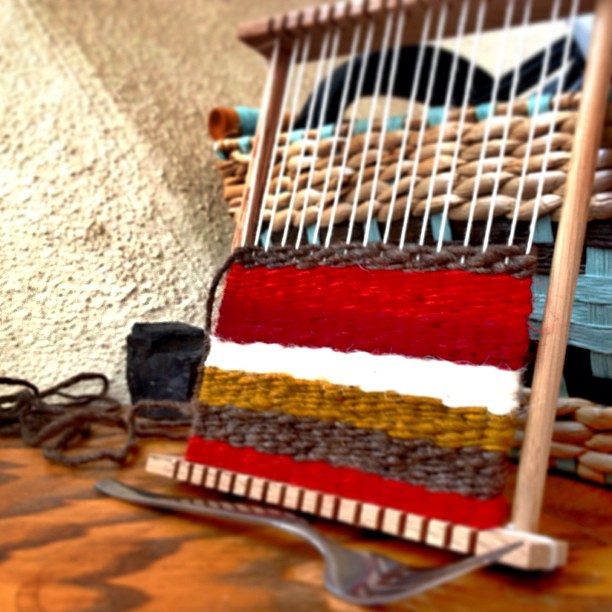".sometimes it's fun to use things as simple as a ""child"" loom and a fork to weave simply and relax. love my fancy equip, but relaxing to go w/ basics too!"