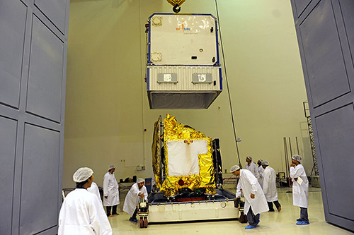 Spacecraft being unloaded at Clean Room at SDSC SHAR Sriharikota