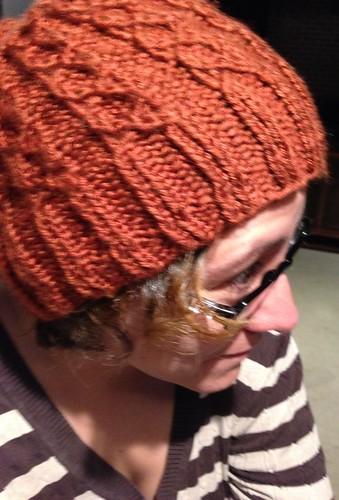 Orange winter cable knit beach hat