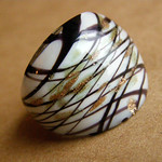 Glass ring. Murano glass - Chocolate and Gold