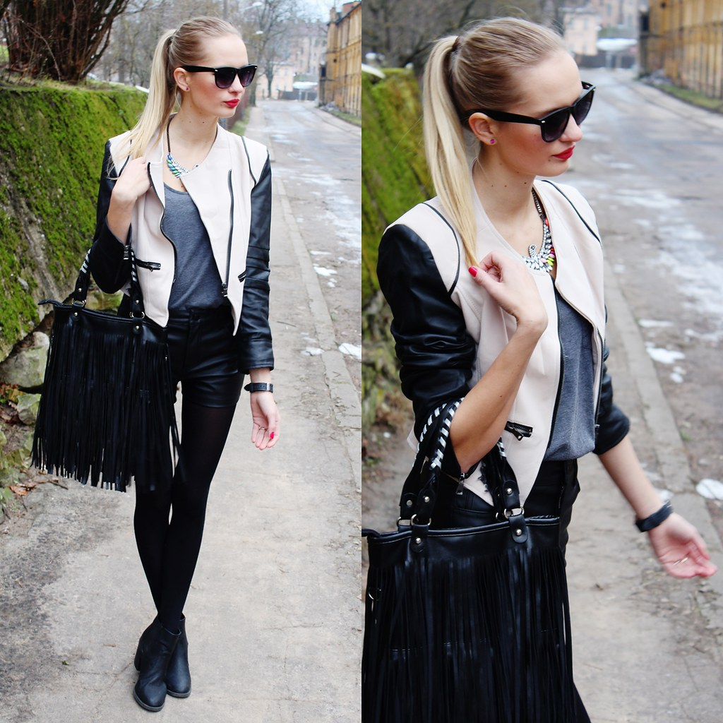 New outfit post on call me maddie- I am wearing a color blog leather sleeve jacket from Sammydress, an eagle colorful necklace form sammydress, leather shorts from Bik bok, grey top with a pocket rom Primark, a fringe tassel leather bag from ebay, a geneva black watch from ebay.