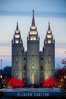 Salt Lake Temple at Sunset with Christmas Lights