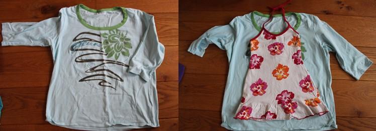 Groot shirt en voorbeeld jurkje