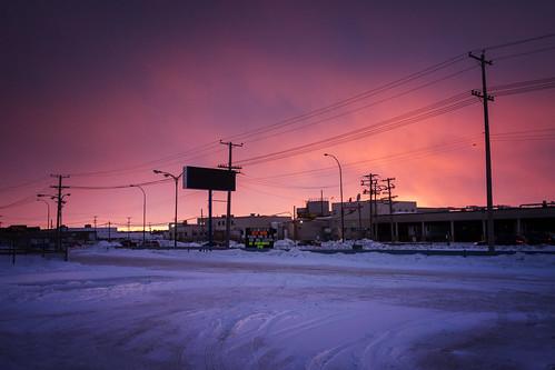 winter sunset snow canada building architecture winnipeg manitoba