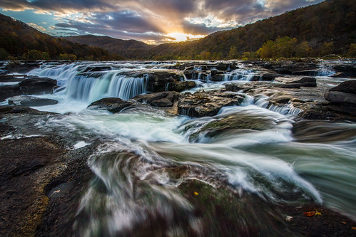 sunset waterfall nps westvirginia nrg newriver newrivergorge sandstonefalls newrivergorgenationalriver westvirginiawaterfalls