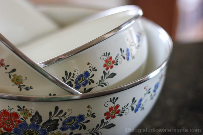 thrifted porcelain enameled bowls