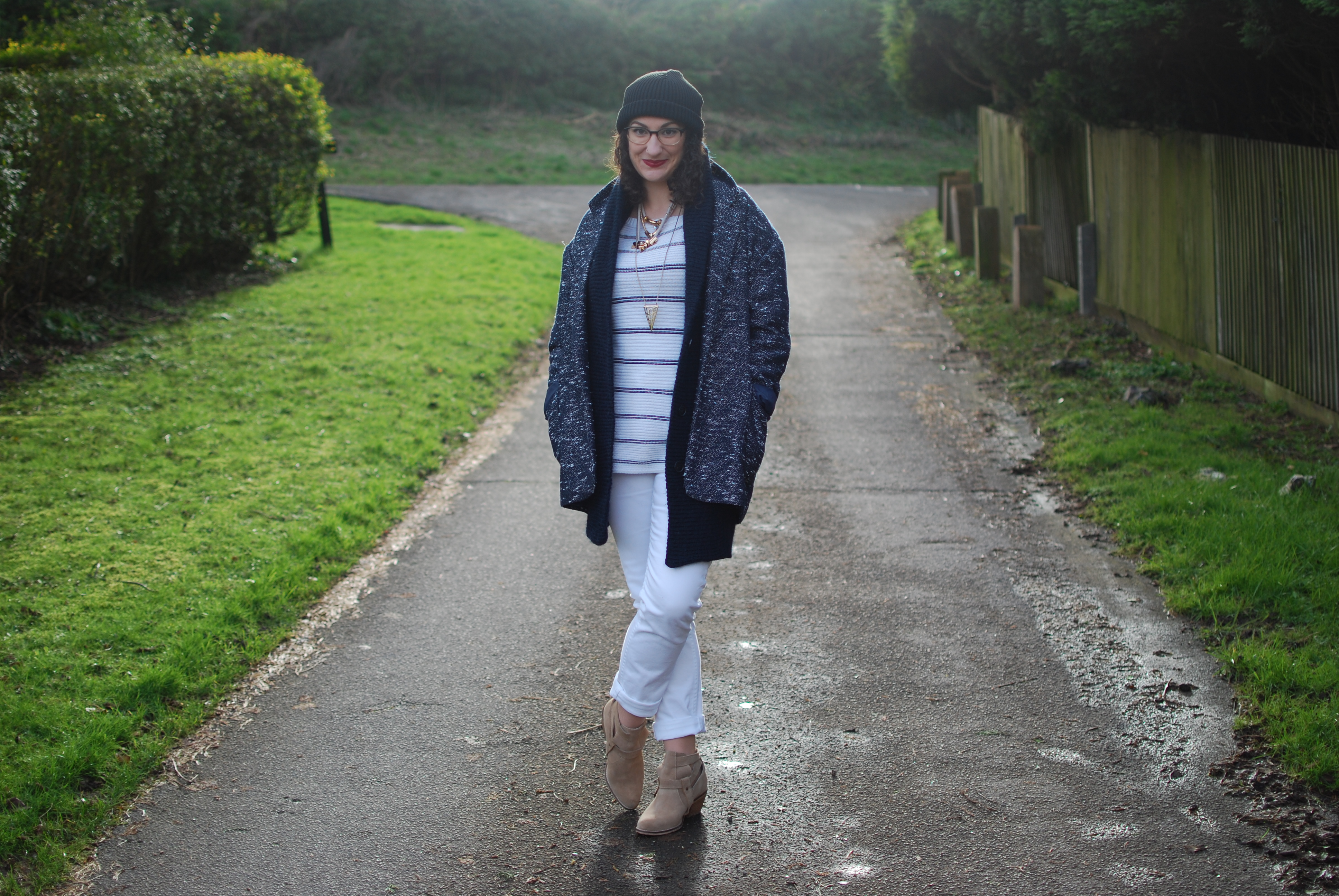 chambray and curls white jeans style winter layered