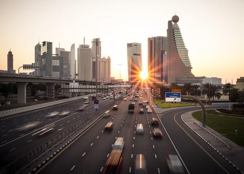 sunset highway dubai cityscape traffic uae sunray sheikhzayedroad sunstar highrisebuilding zabeelpark canon6d